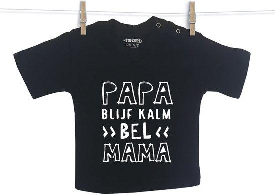 Baby Shirt Zwart korte mouw Snoes Papa blijf kalm 50/56
