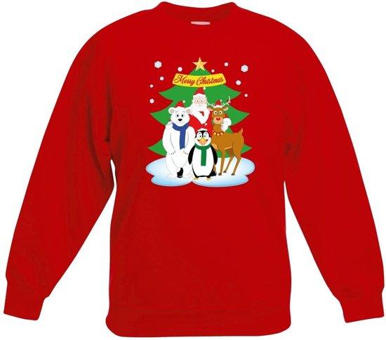 da3e2eeab30b48 Rode kersttrui met de kerstman en zijn dieren vriendjes voor jongens en  meisjes - Kerstruien kind