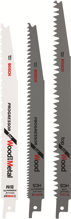 Bosch Reciprozaagbladen set - 3 stuks - S 3456 XF, S 2345 X, S 1131 L - Voor hout en metaal - geschikt voor alle merken