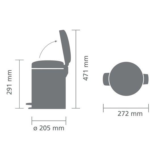 Brabantia NewIcon Pedaalemmer 5 Liter Mat Staal