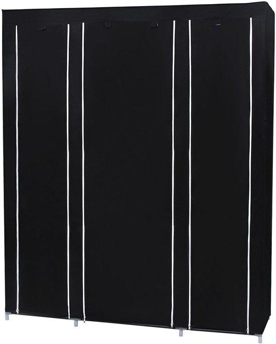 XXL Opvouwbare Garderobekast - Grote Kleding Legplank Kast Stof - Stoffen Hangkast Legkast - Zwart