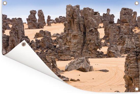 Stenen in het Nationaal park Tassil n'Ajjer Tuinposter 120x80 cm - Tuindoek / Buitencanvas / Schilderijen voor buiten (tuin decoratie)