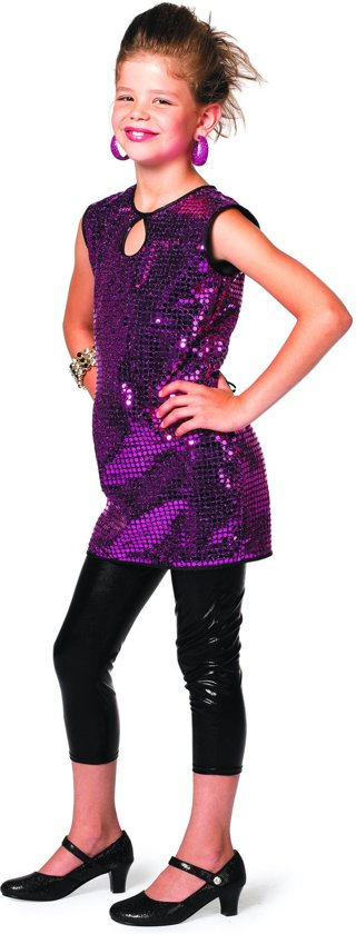 0b1869ced6a0b7 Gala jurkje meisje met paarse pailletten Maat 152