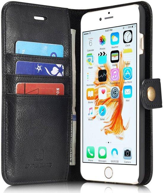 Apple iPhone 6/6S Echt Leren Portemonnee Hoesje Zwart