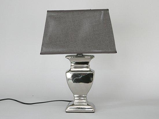 Tafellamp ''Amsterdam'' 42 cm Zilver met Grijze kap