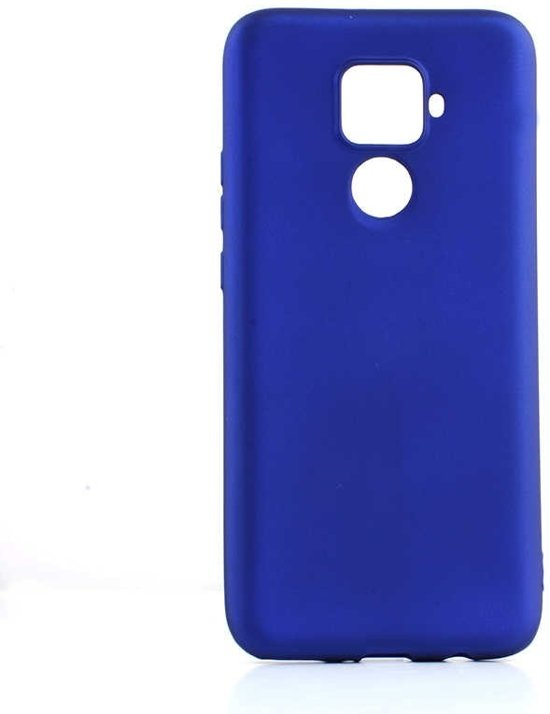 Teleplus Huawei Mate 30 Lite Case Luxury Matte Protected Silicone Blue + Full Covering Nano Screen Protector hoesje