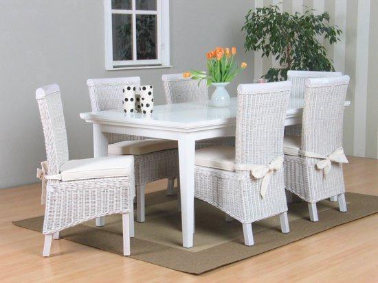 Stoel Rotan Wit : Bol tvilum venetië eethoek tafel met witte stoelen larissa