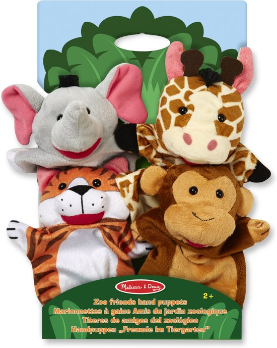 Melissa & Doug Dierentuinvrienden handpoppen (4 stuks) - Olifant, Giraffe, Tijger en Aap