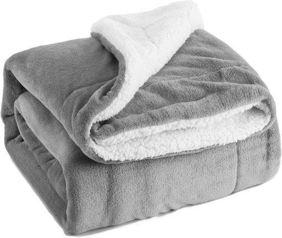 Grijs Sherpa deken, pluizige knuffeldeken/woondeken, super zachte fleece bankdeken/sprei, extreem warm, dubbel genaaid, een zijde van sherpawol en een zijde van flanel, 150 x 200 cm