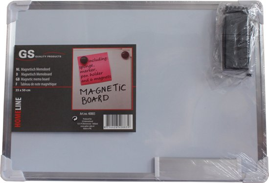 Whiteboard incl. markeerstift, wisser, stifthouder en 6 magneten