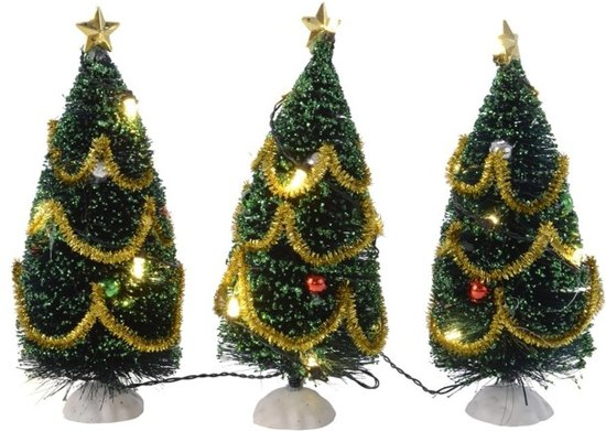 mini kerstboom met led verlichting en versiering 15 cm