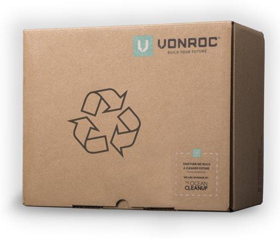 VONROC Accu Decoupeerzaag VPower 20V, 2.0Ah – complete set met 2 accu's, sneloplader, zaagbladen, parallelgeleider en opbergtas