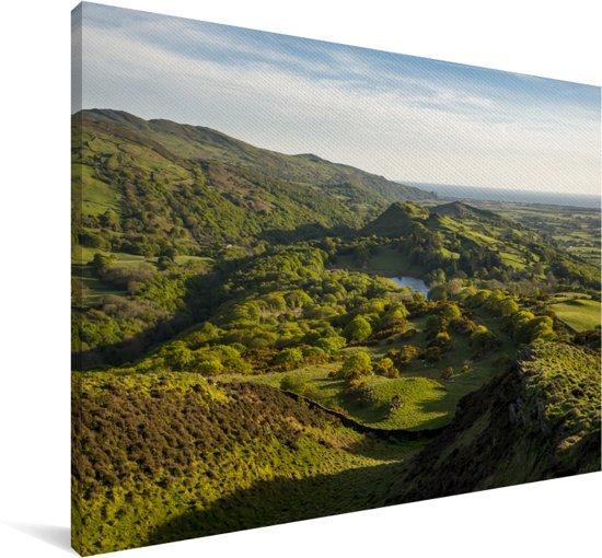 Een uitzicht over het nationaal park Snowdonia in Wales Canvas 90x60 cm - Foto print op Canvas schilderij (Wanddecoratie woonkamer / slaapkamer)