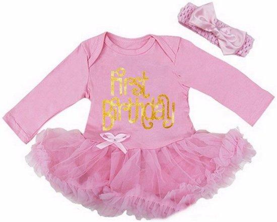 Beroemd bol.com | Verjaardag jurk baby First Birthday 1 jaar roze|Lange @DS56