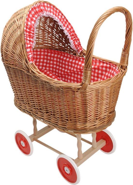 Playwood - Rieten poppenwagen rode ruitjes rieten kap - Plastic wielen