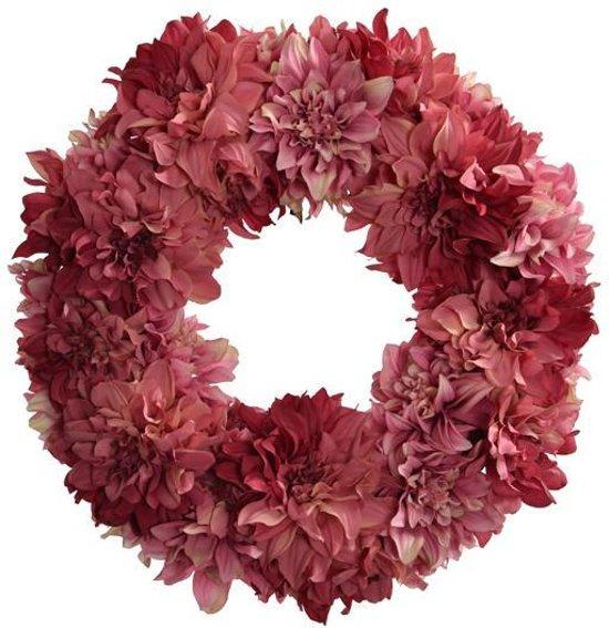 Viv! Home Luxuries Krans van Dahlia's - zijden bloem - roze - topkwaliteit