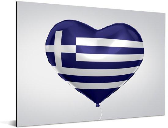 De Griekse vlag in de vorm van een hart Aluminium 80x60 cm - Foto print op Aluminium (metaal wanddecoratie)
