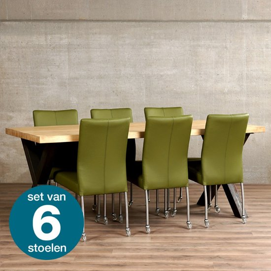 Leren eetkamerstoel met wiel comfort for Eetkamerstoel hout met leer