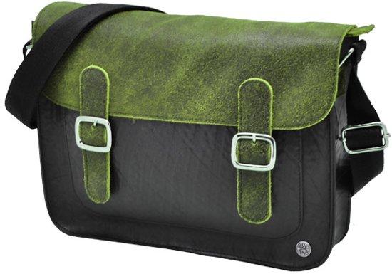 bd7e11bb07b MoreThanHip Cartera Deluxe schoudertas van autoband/ecoleer - groen