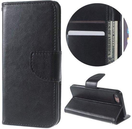 48069b4a441 GadgetBay Wallet zwart iPhone 7 8 Portemonnee Bookcase hoesje Lederen cover