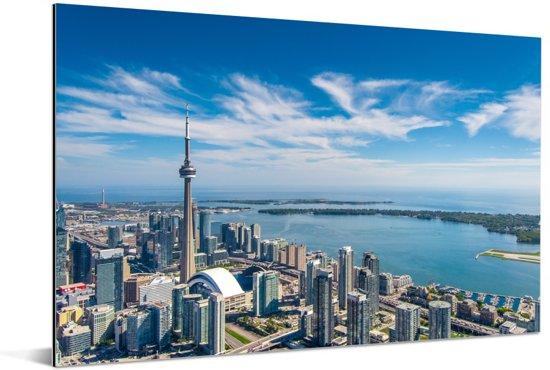 Luchtfoto van Toronto met uitzicht op het Ontariomeer in Canada Aluminium 60x40 cm - Foto print op Aluminium (metaal wanddecoratie)
