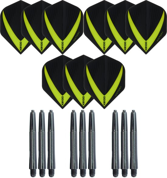 3 sets (9 stuks) Super Sterke – Groen - Vista-X – darts flights – inclusief 3 sets (9 stuks) - medium - darts shafts