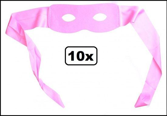 10x Oogmasker Roze ruiter met band
