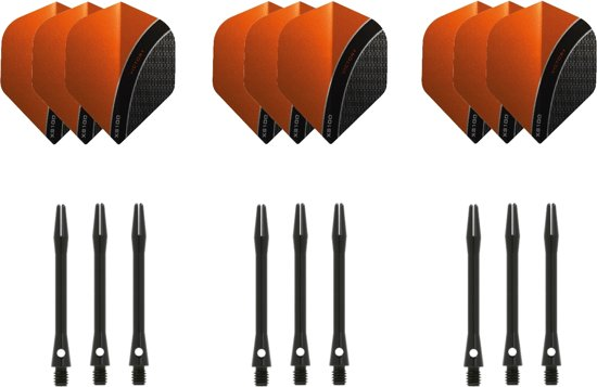 Dragon darts - 3 sets - XS100 Curve - Oranje - Darts flights - plus 3 sets - aluminium - darts shafts - zwart - medium