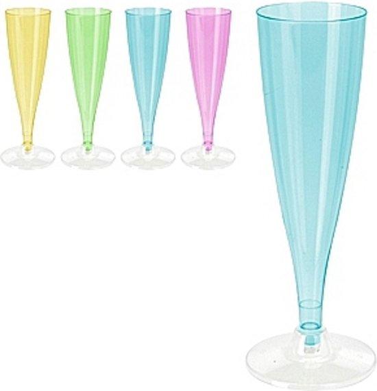 plastic champagneglazen 4 stuks blauw