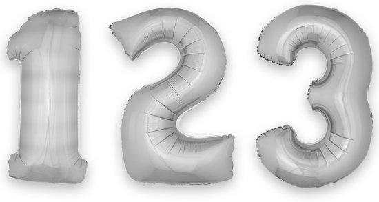 Zilverkleurige cijfer 0 ballon - Feestdecoratievoorwerp