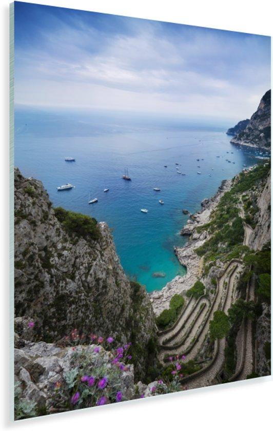 Een mooi zicht op een kronkelende weg en de zee in Capri Plexiglas 60x90 cm - Foto print op Glas (Plexiglas wanddecoratie)