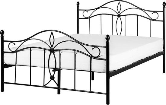 bol beliani antlia bed metaal zwart 160x200 cm