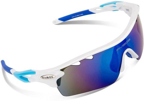 59b1032f857c01 Sport Zonnebril set met verwisselbare lenzen inclusief gepolariseerde lens  met wit frame - fiets mountainbike fietsbril
