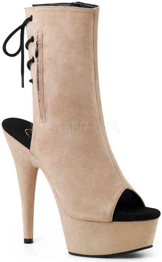 DELIGHT-1018FS (EU 37 = US 7) 6 Heel, 1 3/4 PF Open Toe/Heel Ankle Boot, Side Zip