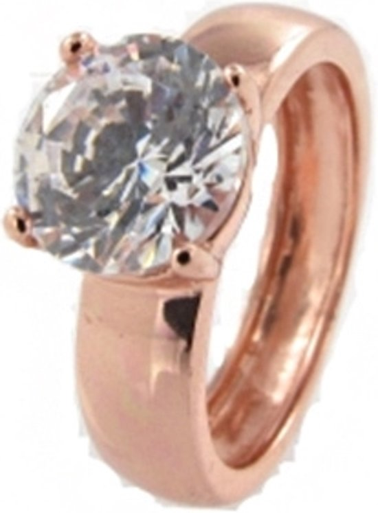 New Bling 943283172-52 - Zilveren Ring Wit 8mm Rond zirkonia Rosékleurig