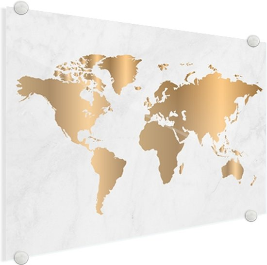 Wereldkaart Goud Marmer Plexiglas Wanddecoratie groot 120x80 cm