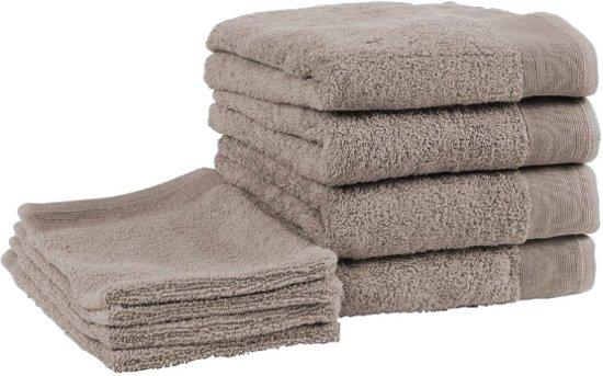 bol | badgoedset walra - 4 washandjes en 4 handdoeken - bruin