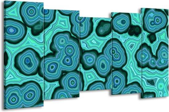Canvas schilderij Art | Blauw, Groen | 150x80cm 5Luik