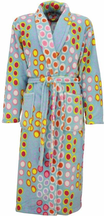 Fleece dames badjas met sjaalkraag-Blauw T10 .