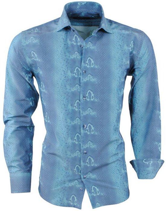 Slim Fit Heren Overhemd.Bol Com Pradz Heren Overhemd Slangen Print Slim Fit Groen