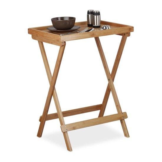 relaxdays - bijzettafel met dienblad bamboe - bijzettafeltje hout -  opklapbaar