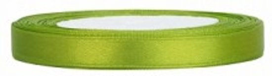 Satijn Lint, Appel Groen  6 mm Breed, 4 rollen van 25 Meter