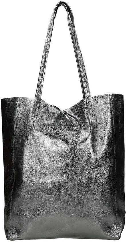 86c196382b2 bol.com | Duifhuizen Leather Collection shopper M grey metallic
