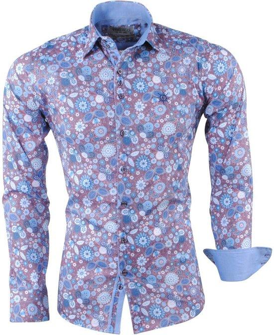 Bruin Overhemd Heren.Bol Com Ferlucci Heren Overhemd Bloemen Puglia Bruin