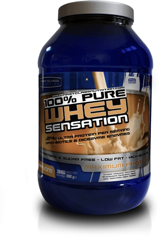 100% Whey Sensation Cappuccino  900 gr whey protein & Isolaat / eiwitshake