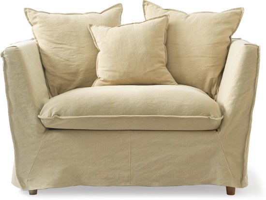 Riviera Maison Oyster Pond - Washed linnen Flax - Loveseat