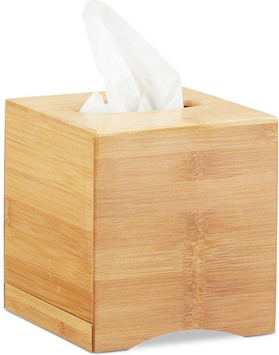 Betere relaxdays tissue box vierkant - zakdoekjes houder bruin QB-74