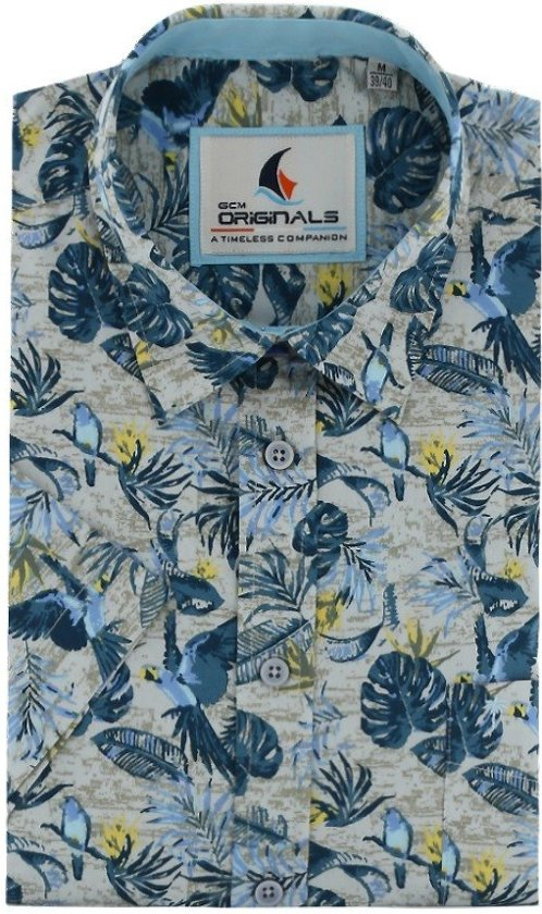 Gcm Originals regular fit overhemd korte mouw tropical zand blauw, maat XXL