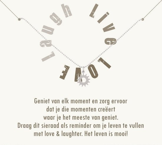Simply Because Live Love Laugh! Ketting (zilver, bedel zonnetje) 42 cm