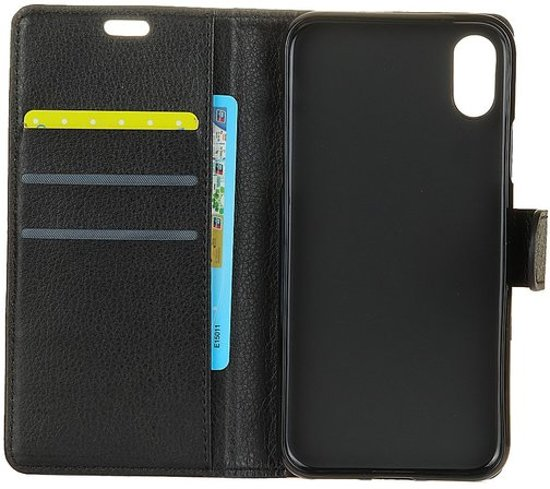 cc985e96507 GadgetBay Wallet zwart iPhone X portemonnee hoes lederen black - Bookcase